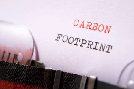 Carbon footprint phrase written with a typewriter.