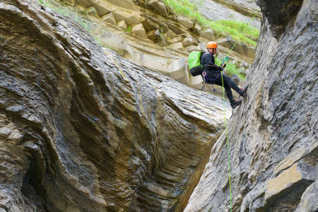 Canyoneering Sorrosal Canyon in Pyrenees, Broto village, Huesca Province in Spain.