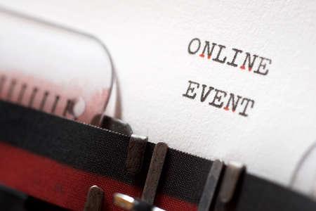Online event phrase written with a typewriter.