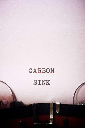 Carbon sink phrase written with a typewriter.