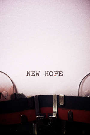 New hope phrase written with a typewriter.