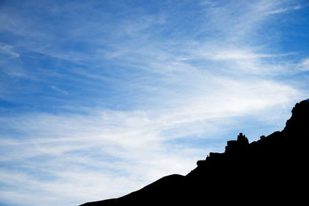 Silhouette of a rocky pinnacle in Canfranc Valley, Huesca province, Pyrenees, Aragon in Spain.