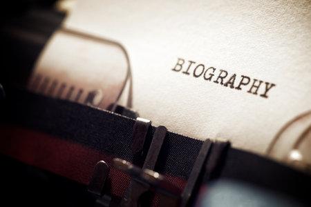 Biography word written with a typewriter. Standard-Bild