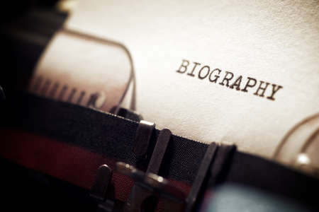 Biography word written with a typewriter.