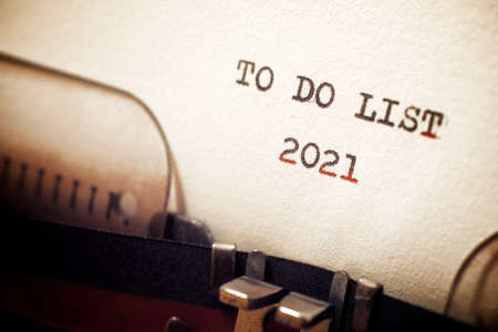 To do list 2021 phrase written with a typewriter.