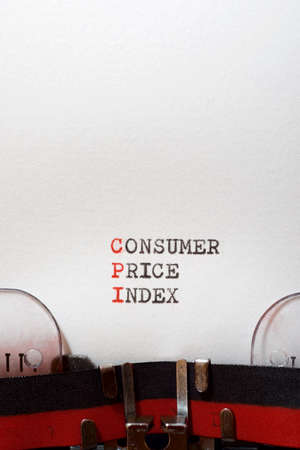Consumer price index phrase written with a typewriter.