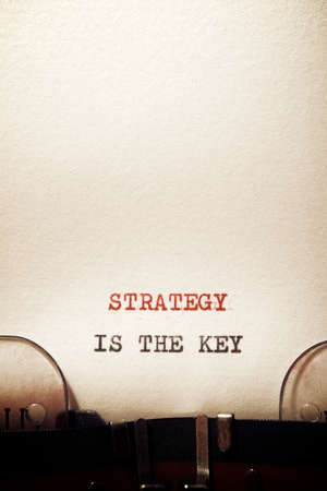 Strategy is the key phrase written with a typewriter.