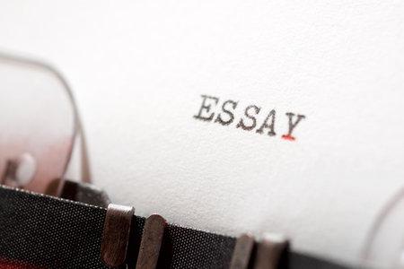 Essay word written with a typewriter.
