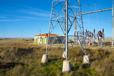 Closeup of an electrical substation, Huesca Province, Aragon in Spain.