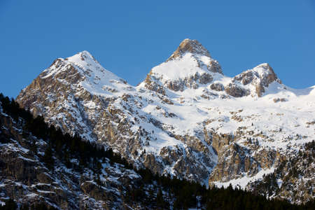 Peaks in the Pyrenees, Tena Valley, Huesca Province, Aragon in Spain. Stock Photo