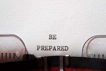 Be prepared phrase written with a typewriter. Stock fotó