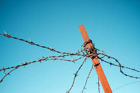Closeup of a rusty barbed wire fence. Stockfoto