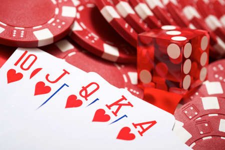 View of a gaming table with royal flush cards.