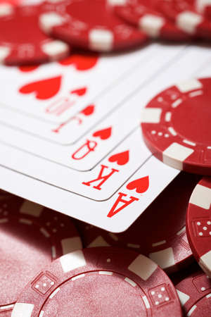 View of a gaming table with royal flush cards. 写真素材 - 163634669