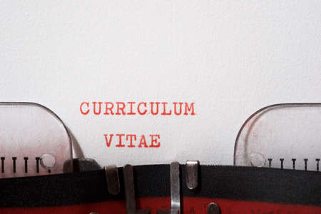 Curriculum vitae phrase written with a typewriter. Imagens