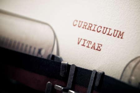 Curriculum vitae phrase written with a typewriter.