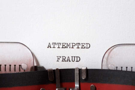 Attempted fraud phrase written with a typewriter. Banque d'images