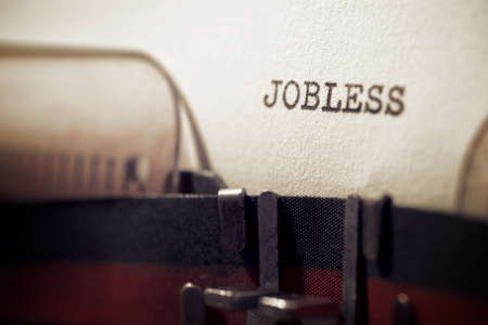 Jobless word written with a typewriter.