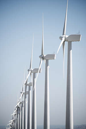 Wind turbines for electric power production, Zaragoza province, Aragon in Spain. Archivio Fotografico