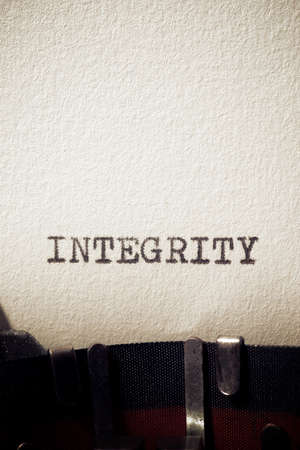 Integrity word written with a typewriter.