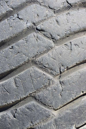 Close-up of a tire of public works machinery.