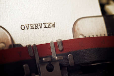 The word overview written with a typewriter. Imagens