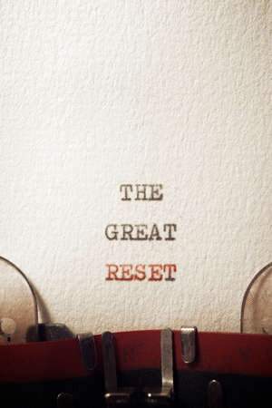 The great reset phrase written with a typewriter.