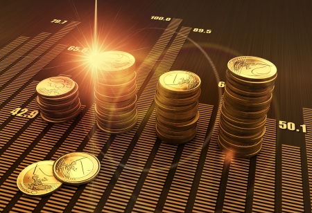 investment analysis: Financial business chart and coins