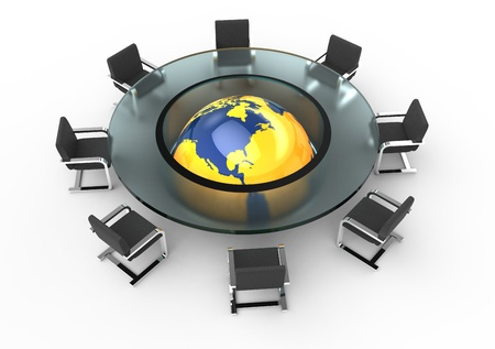 Round glass conference room with globe photo