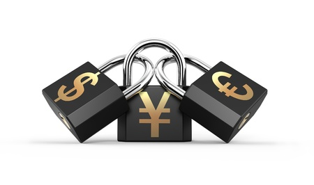 Three padlocks attached to the yuan, euro and dollar signs photo