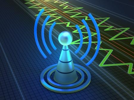 broadband: Wireless tower with radio waves