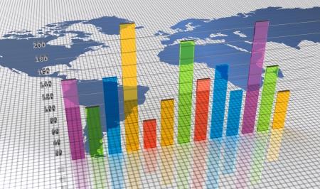 desarrollo económico: Gráfico de barras con un mapa del mundo