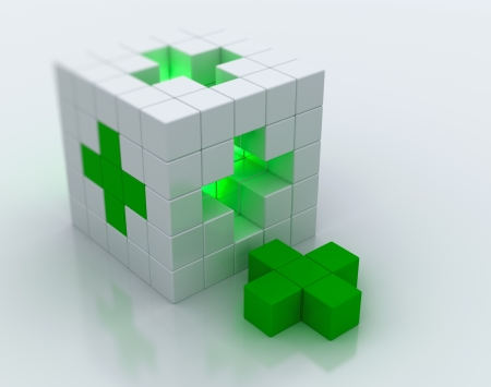 first aid box: White cube green cross symbol