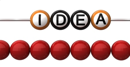 computations: Abacus close-upl with the words idea