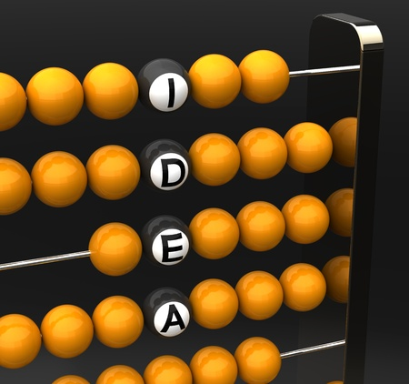 computations: Abacus close-up with the words idea