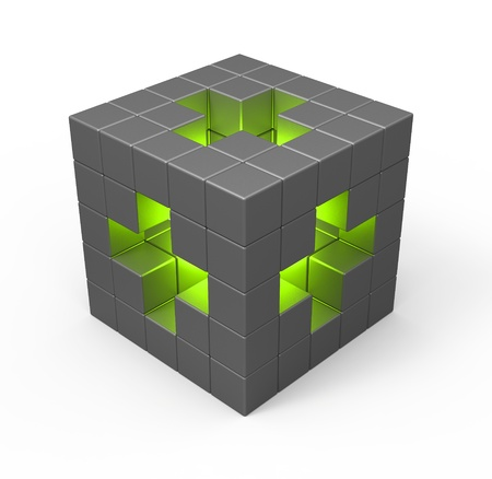 medical box: Cube with green cross symbol