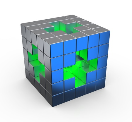 safety box: Cube with green cross symbol