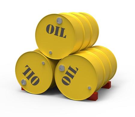 lubricant: Three oil barrels Stock Photo