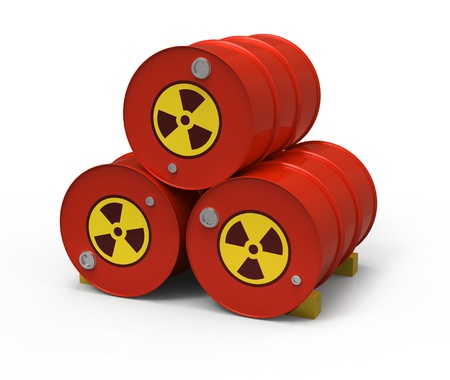 Three radioactive barrels Stock Photo - 18915611