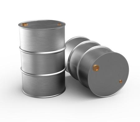 Two steel barrels