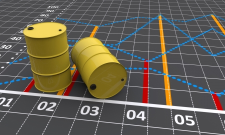 Two yellow barrels with a linear graph  photo