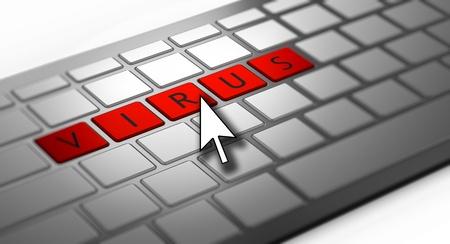 virus informatico: Computer infección por el virus Foto de archivo