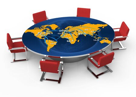 Round conference room with a map of the world photo