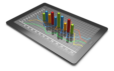 Tablet computer with a bar graph Stock fotó