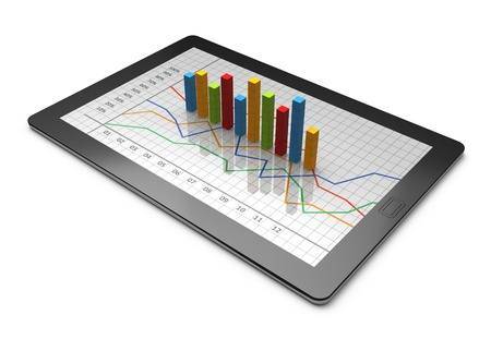 document management: Tablet computer with a bar graph Stock Photo