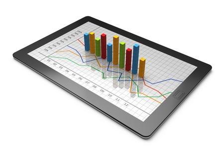 document management: Tablet PC con un gráfico de barras Foto de archivo