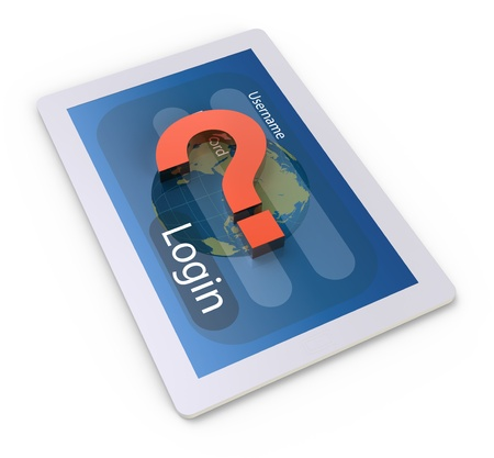 Tablet PC with a question mark Stock Photo - 18932974