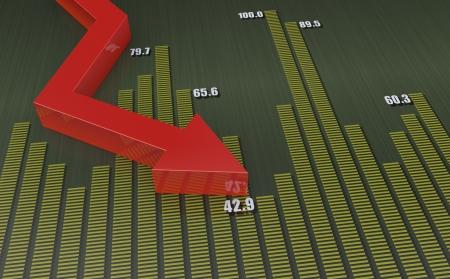 einsturz: Pfeil nach unten zeigt finanzielle Zusammenbruch Lizenzfreie Bilder