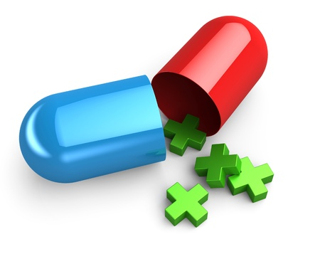 Pill in red and blue with green cross photo