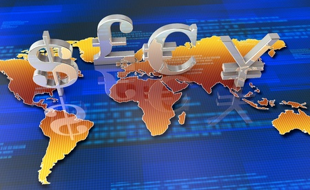 european currency: Silver currency symbols with world map